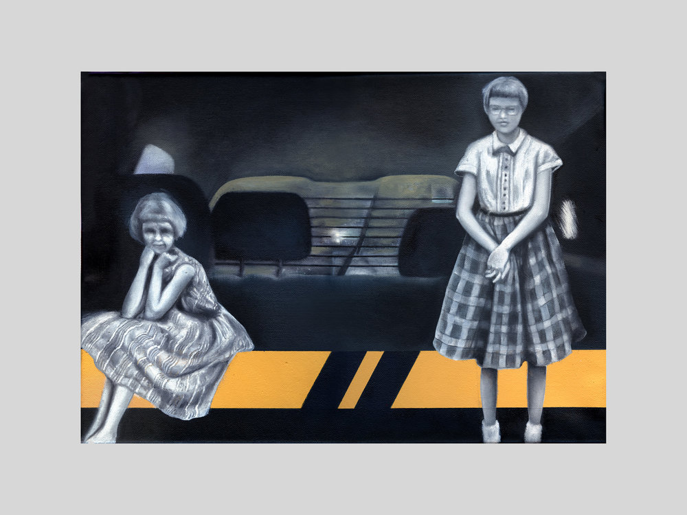 """Fear of Cars,1963 / Yellow Line   Oil on Canvas   10.75""""x 16"""""""