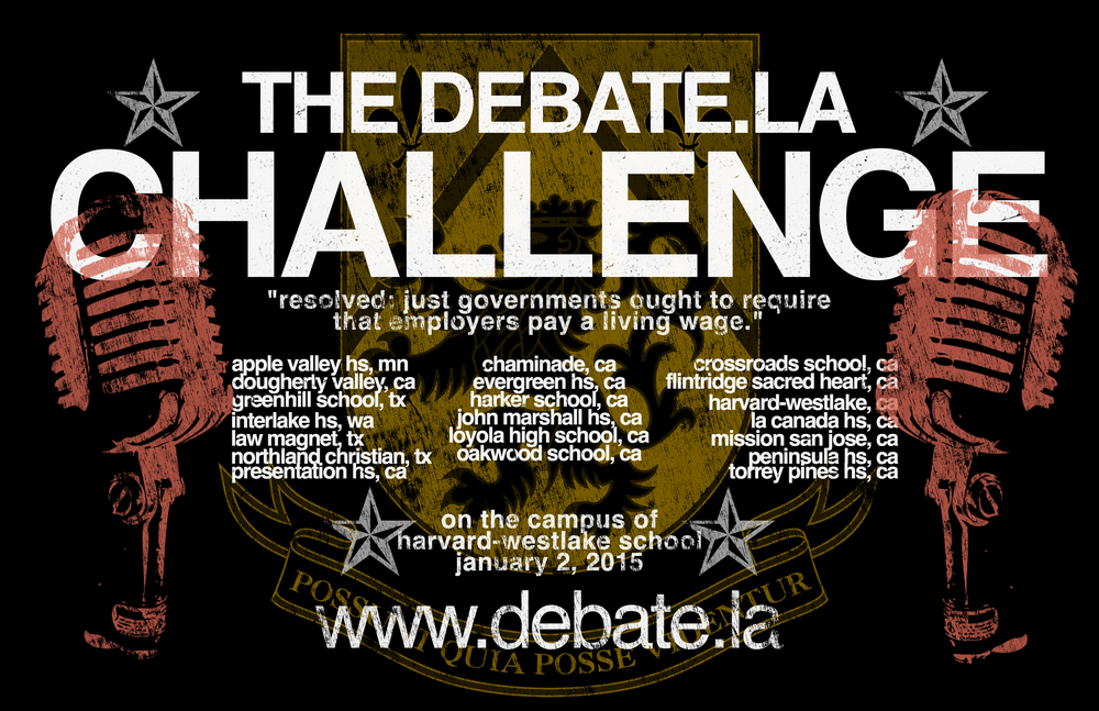 The poster presented to every competitor, coach and judge at the debateLA Challenge