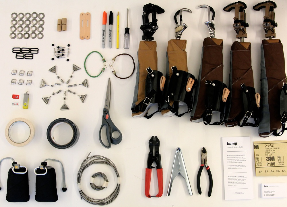 Prosthetic supplies organized neatly