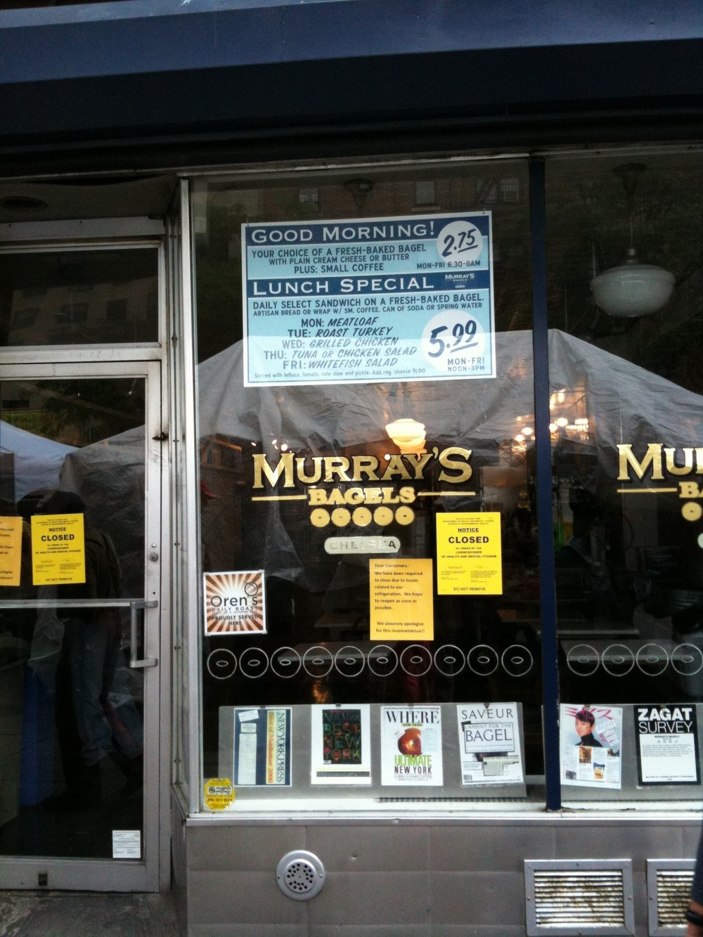Murray's Bagels closed by NYC Health Dept