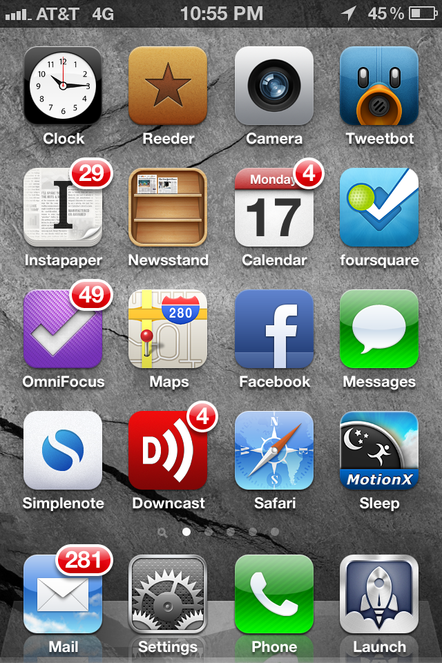 My first home screen and launch bar. Don't worry; most of those e-mails aren't urgent.