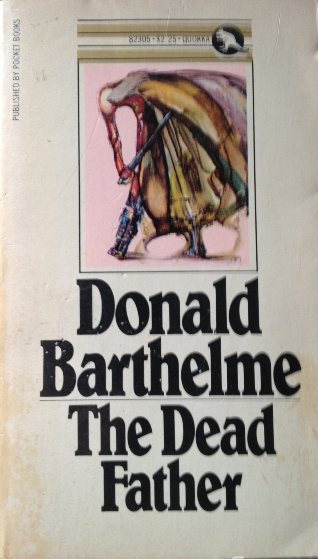 "Donald Barthelme was considered the father of postmodern fiction. I acquired and read this book in 1975, before he was dead. Before my own father was dead. It is funny and strange, and I recommend the second half in particular, ""A Manual for Sons."" Excerpt: There are twenty-two kinds of fathers, of which only nineteen are important. The drugged father is not important. The lionlike father (rare) is not important. The Holy Father is not important, for our purposes. There is a certain father who is falling through the air, heals where his head should be, head where his heels should be. The falling father has grave meaning for all of us. The wind throws his hair in every direction. His cheeks are flaps almost touching his ears. His garments are shreds, telltales. This father has the power of curing the bites of mad dogs, and the power of choreographing the interest rates. What is he thinking about, on the way down? He is thinking about emotional extravagance. The Romantic Movement, with its exploitation of the sensational, the morbid, the occult, the erotic! The falling father has noticed Romantic tendencies in several of his sons. The sons have taken to wearing slices of raw bacon in their caps, and speaking out against the interest rates. After all he has done for them! Many bicycles!    [Originally posted on my discontinued This Old Book Tumblr.]"