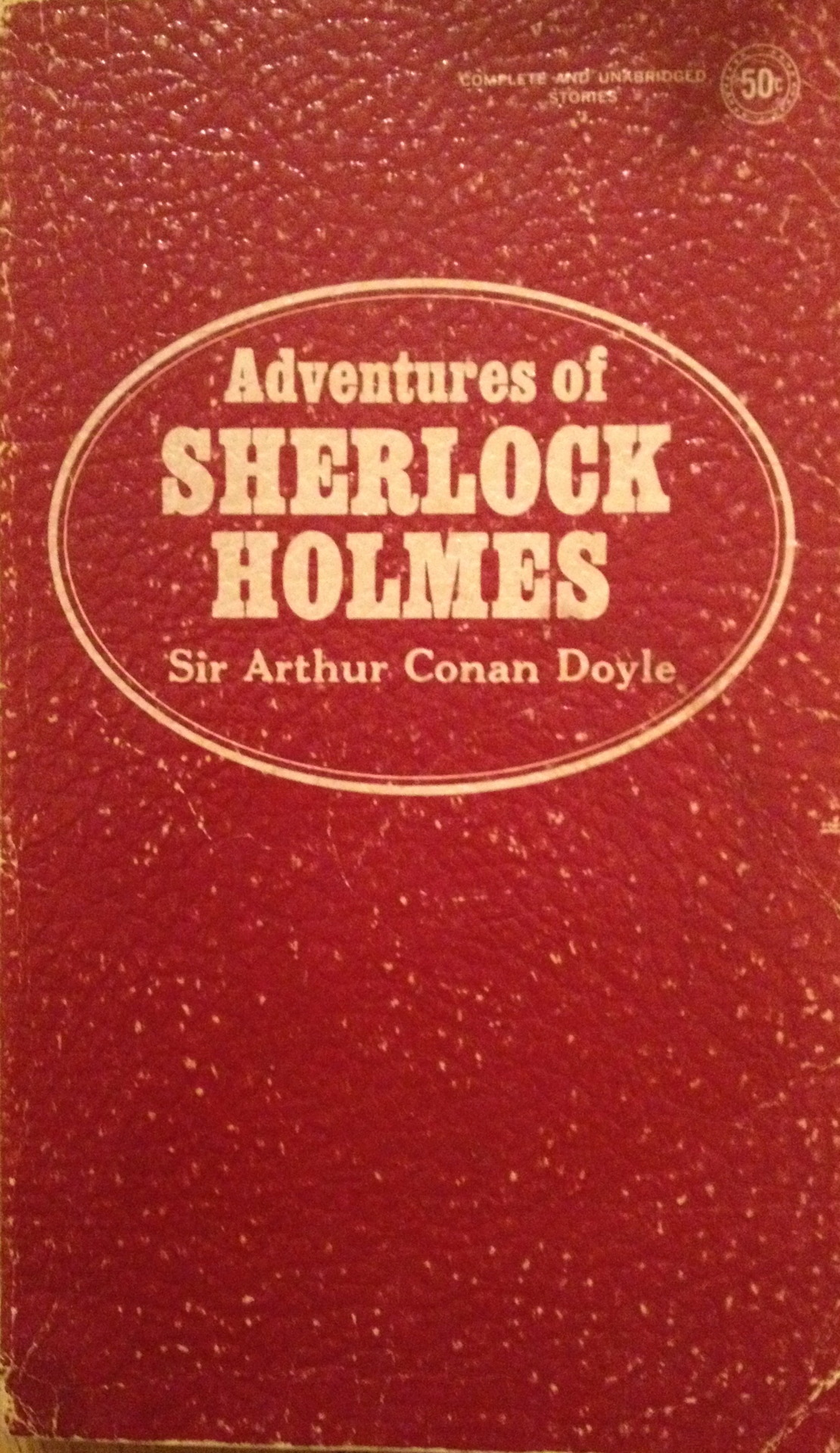 "A recent viewing of the excellent  BBC series ""Sherlock""  sent me hunting my shelves for this softcover pocketbook. This one of the earliest books I owned, perhaps inherited from my father, so it could date to the middle of the 20th Century. It is undated on the copyright page and was published by Award Books Inc. (""Best Seller Classic Series - Specially selected immortal literature, handsomely designed with luxurious, leatherette finish covers. A distinguished addition to all home libraries."")  Unlike  most editions bearing this title,  it contains just seven stories, not 12: ""The Red-Headed League,"" ""The Boxcomber Valley Mystery,"" ""The Five Orange Pips,"" ""The Adventure of the Engineer's Thumb,"" ""The Adventure of the Noble Bachelor,"" ""The Adventure of the Beryl Coronet,"" and ""The Adventure of the Copper Beeches."" For a boy of 10 in 1970s America, this England was an exotic and nearly indecipherable place. I eventually sought out the rest (many of them better than the ones in this anthology) as well as many pastiches and inspired knockoffs {""The 7 Percent Solution"" was an early favorite, with Sigmund Freud treating Holmes). The BBC series transforms Watson into a blogger, a masterstroke. You could well imagine him typing this opener to ""Five Orange Pips"" into Tumblr…  ""When I glance over my notes and records of the Sherlock Holmes cases between the years '82 and '90, I am faced by so many which present strange and interesting features that it is no easy matter to know which to choose and which to leave. Some, however, have already gained publicity through the papers, and others have not offered a field for those peculiar qualities which my friend possessed in so high a degree, and which it is the object of these papers to illustrate. Some, too have baffled his analytical skill, and would be, as narratives, beginnings without an ending, while others have been but partially cleared up, and have their explanation founded rather upon conjecture and surmise than on that absolute logical proof which was so dear to him. There is, however, one of these last which was so remarkable in its details and so startling in its results that I am tempted to give some account of it…""   [Originally posted on my discontinued This Old Book Tumblr.]"