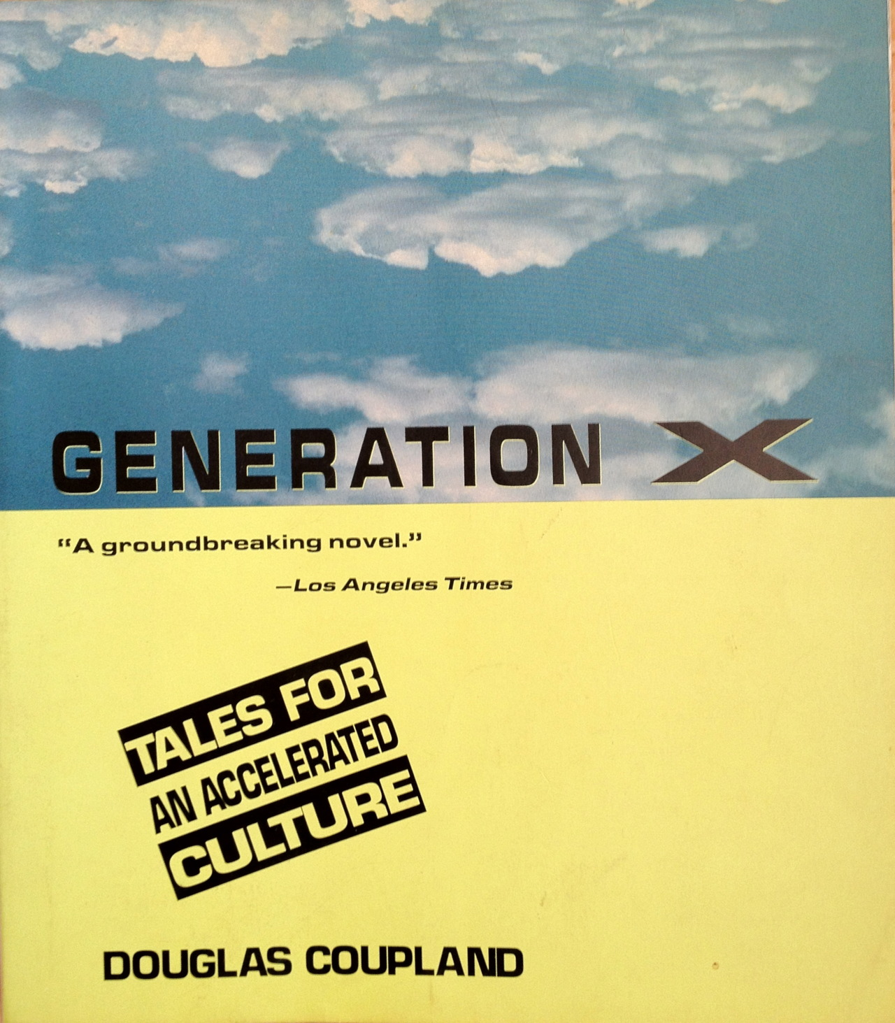 "This book was published in 1991. That means the characters, all in their 20s, were born roughly between 1960 and 1970. I've heard the term ""Gen X"" applied to people born as late as 1981, people who would have been 10 years old and of a completely different culture from the underemployed slackers who make their way through this world of Swedish disposable furniture and McJobs. But somehow the label kept getting applied to younger and younger people during the 1990s. Of course,  Douglas Coupland (born 1961)  didn't coin the term; he just popularized it. I bought this copy at St. Mark's Bookshop when I was 28 or 29 and hanging out in the East Village, visiting friends (I lived in Pennsylvania then). The book inspired a lot of bad newspaper Op-Ed columns by twentysomethings and baby boomers, as I recall, plus a terrible plague of other popular entertainments ("" Reality Bites"" ). But it did capture something about being young and broke in the 1980s. I know the so-called millennial generation (people born around the time this book was published, I guess) are finding themselves in a similar situation. Advice: hang in there.   Sample chapter headings: Our Parents Had More. Quit Recycling the Past. Quit Your Job. I Am Not a Target Market. Shopping Is Not Creating. Purchased Experiences Don't Count. Define Normal. MTV Not Bullets. Adventure Without Risk Is Disneyland.    The format of the book included marginalia definitions of various aspects of life as a 20something in the 80s/90s. The story is overshadowed by a Cold War ear fear of nuclear destruction that seems quaint now. We have so many other things to fear.   Notably missing: The Internet.    Legislated Nostalgia  To force a body of people to have memories they do not actually possess: ""How can I be part of the 1960s generation when I don't even remember any of it?""      [Originally posted on my discontinued This Old Book Tumblr.]"
