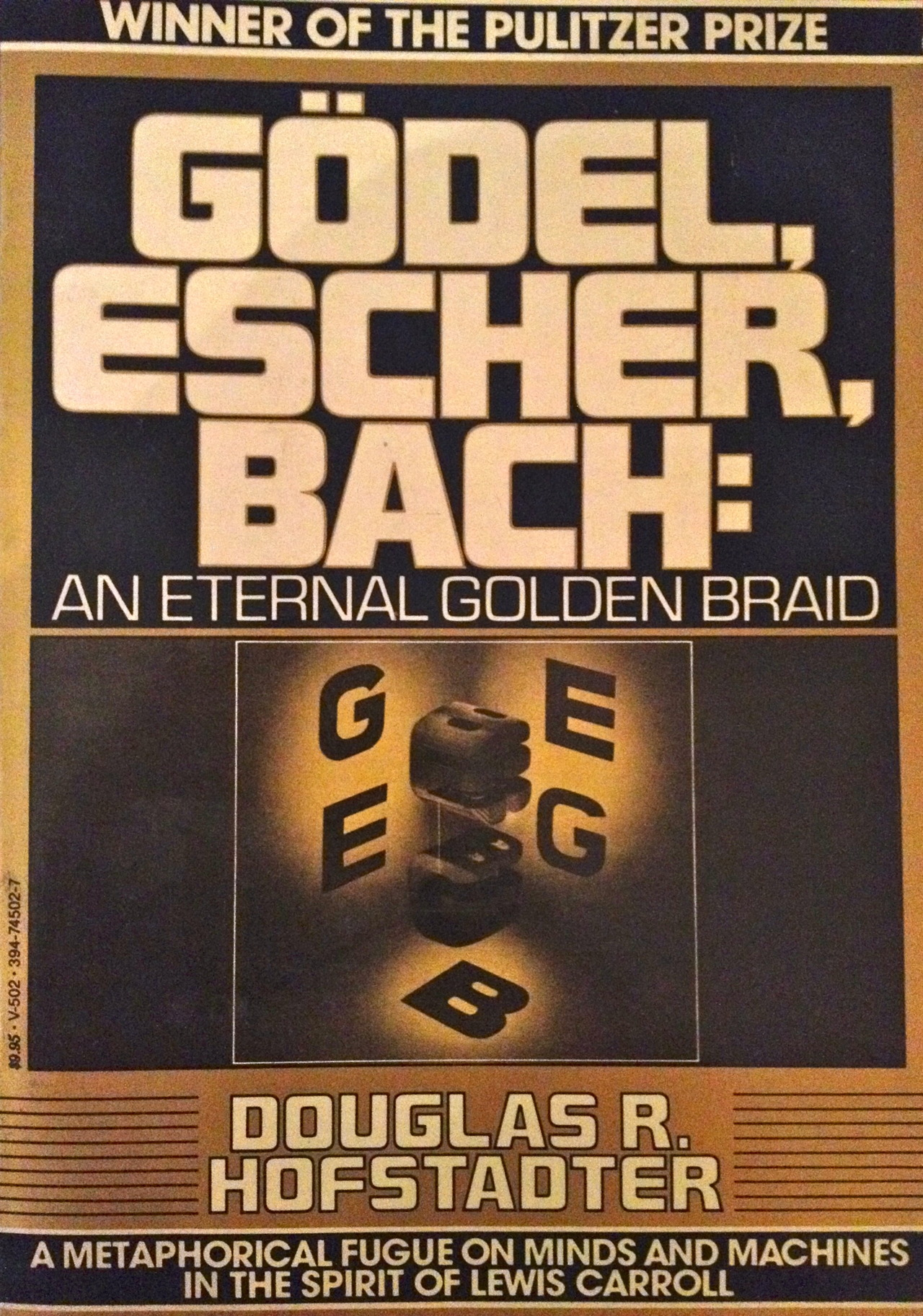 I lived with a bunch of engineering students my freshman and sophomore years. At some point, everybody got a copy of this and was reading it. It's an interesting melange of math, music and art. If you like word puzzles, and recursions and illusions, Zen koans and a dose of philosophy, it entertains. My friends all became programmers and physicists, and I went into journalism, a practical art. We all took something different away from this, I suspect  — in my case, a lasting interest in  koans and Zen Buddhism . My wife picked this up the other day because one of her students is reading it, but after seeing the formulas and technical material, she put it back on the shelf. It can be tough reading, but it rewards you by stretching the brain.