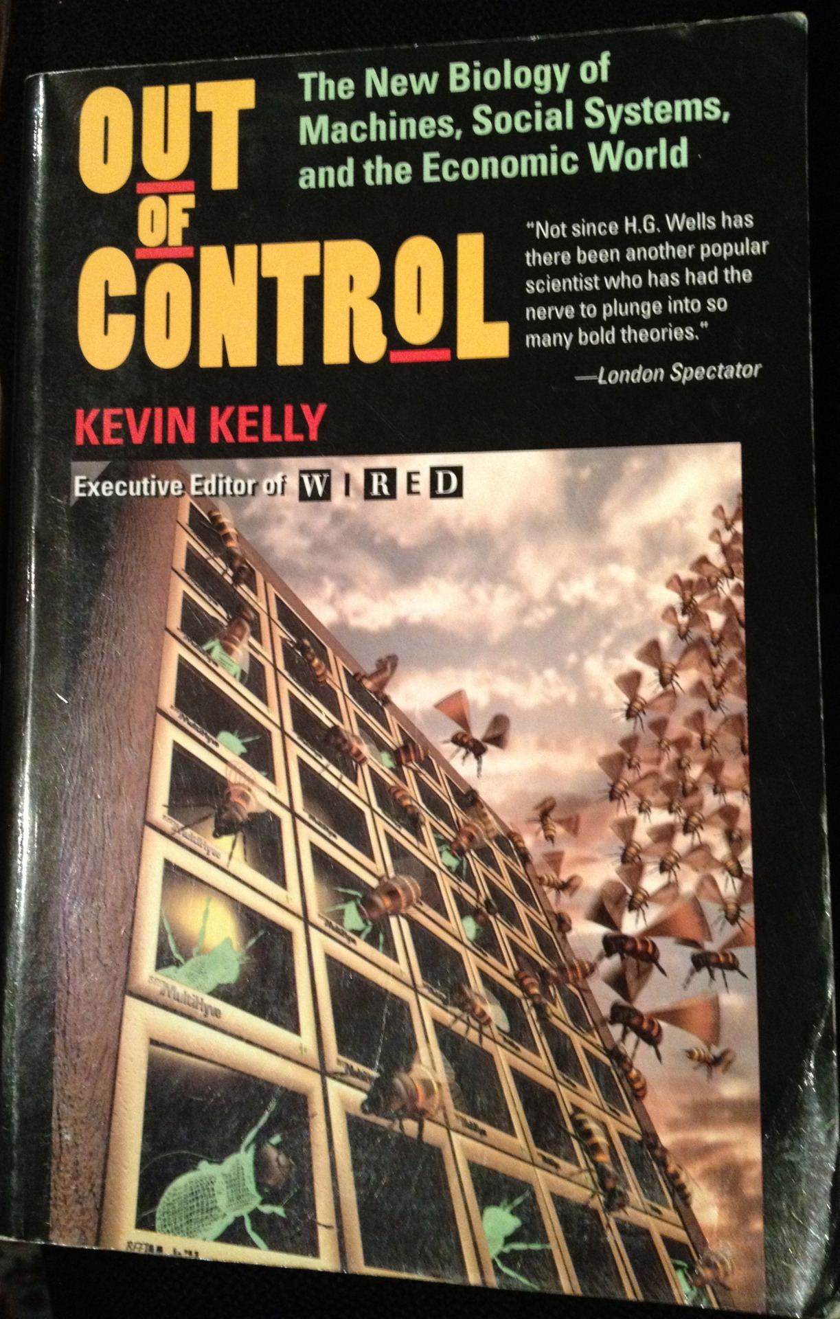 "This prescient book, published in 1994 on the eve of the Web age, shaped a lot of my early thinking about technology and media (as did Stewart Brand's book about the M.I.T. Media Lab). Kevin Kelly was the editor of Wired and previously the Whole Earth Review. The book touched on topics that were strange then, but now more familiar: the wisdom of crowds, the hive mind, gamification, distributed computing and what Kelly called ""the marriage of the born and the made.""  For the world of our own making has become so complicated that we must turn to the world of the born to understand how to manage it. That is, the more mechanical we make our fabricated environment, the more biological it will eventually have to be if it is to work at all. Our future is technological; but it will not be a world of gray steel. Rather our technological future is headed toward a neo-biological civilization.    [Originally posted on my discontinued This Old Book Tumblr.]"