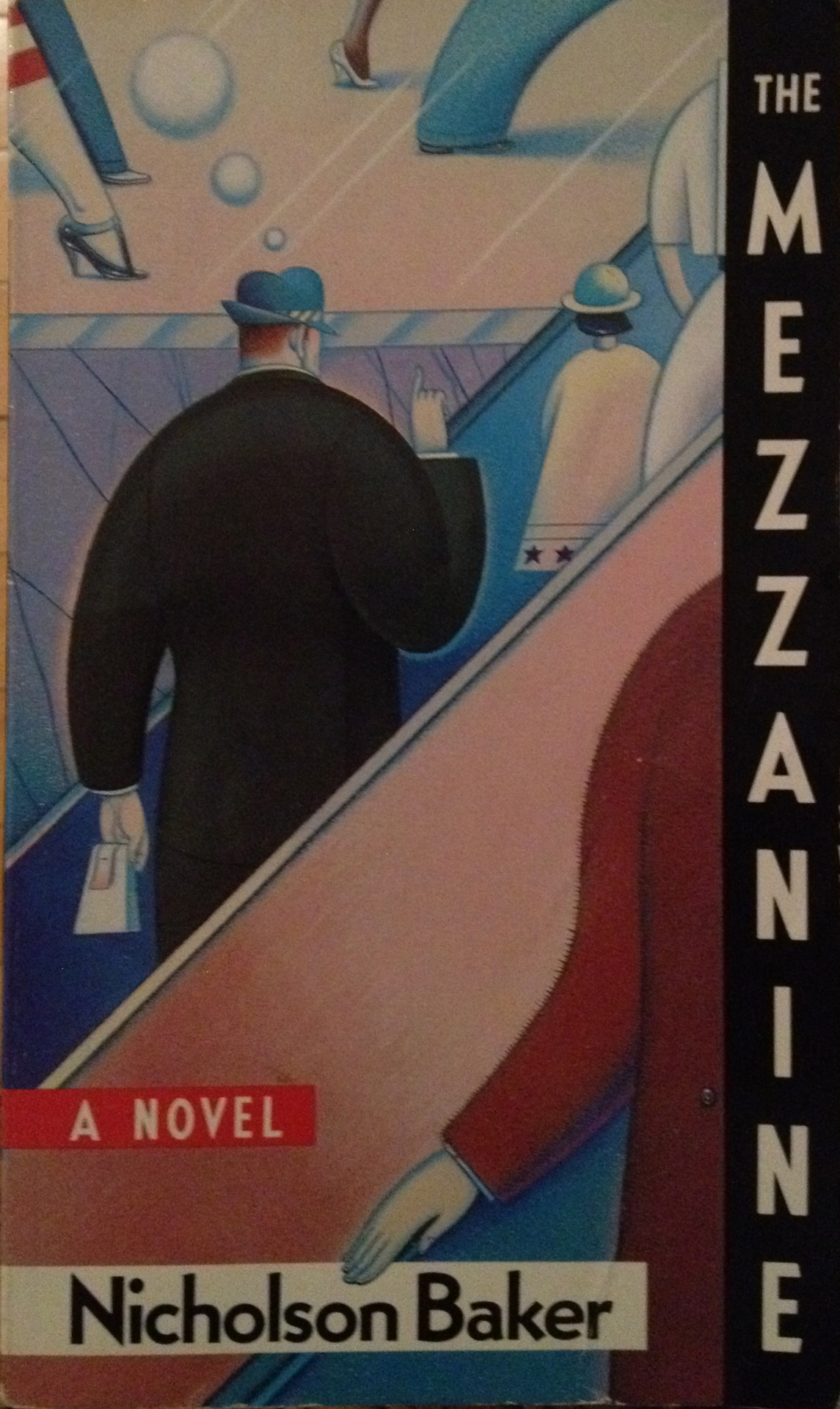 All 15 chapters of this 135-page novel with footnotes take place in the mind of the protagonist as he ascends an escalator in his office building's lobby. There is quite a lot about shoe-tying and laces, also.  Nicholson Baker  became much more famous, and his books much stranger, after this first effort in 1986.      [Originally posted on my discontinued This Old Book Tumblr.]