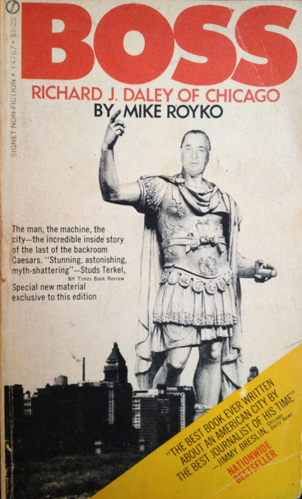 The newspaper columnist Mike Royko wrote this detailed portrait of Mayor Richard J. Daley, the head of the 1960s Democratic machine in Chicago, in 1971. I can't remember when or where I first acquired it, but at some point I lost my copy. Then my wife found another one buried on a bookshelf at her mother's house. I'm glad she did. The book is part indictment, part admiring profile, of the mayor and  the corrupt city that raised him and how it all spun out of control with the police brutality against  protesters at the 1968 Democratic Convention . Here's a description of the notoriously corrupt Police Department of the Daley era:  Not everybody was on the take. There were honest policemen. You could find them working in the crime laboratory, the radio lab, in desk jobs in headquarters. There were college-educated policemen, and you could find them working with juveniles. There were even rebelliously honest policemen, who might blow the whistle on the dishonest ones. You could find them walking a patrol along the edge of a cemetery. The honest policemen were distinguished by their rank, which was seldom above patrolman. They were problems, square pegs in round holes. Nobody wanted to work in a traffic car with an honest partner. He was useless on a vice detail because he might start arresting gamblers or hookers. So the honest ones were isolated and did the nonprofitable jobs. It had to be so, because a few good apples in the barrel could ruin the thousands of rotten ones.      [Originally posted on my discontinued This Old Book Tumblr.]
