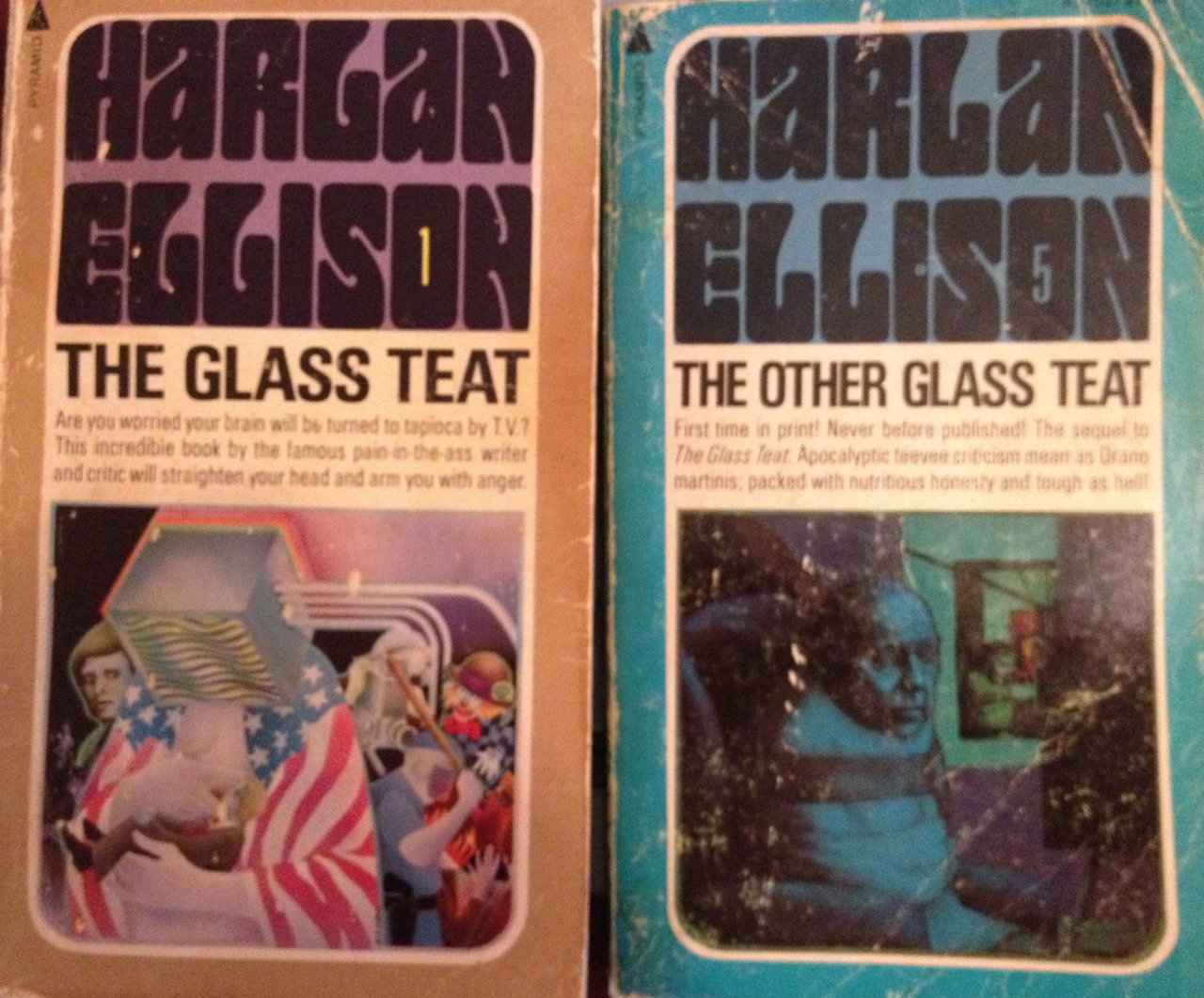 Starting around 1968, Harlan Ellison wrote a column of TV criticism for the L.A. Free Press. Ellison, the prolific speculative fiction author and TV writer, railed against the mediocre prime-time offerings of the day, recounted his battles with TV producers who rewrote and botched his scripts, and took shots at the Nixon administration over Vietnam. The stuff hasn't aged all that well, and I won't be buying the $750 signed limited edition with the updated audio rant. The material was already dated by the time I got my 13-year-old hands on these books with their references to current events and shows that were already half-forgotten (The Mod Squad, Laugh-In, The Smothers Brothers, Julia, First Tuesday, The Name of the Game, The Ghost and Mrs. Muir). I am impressed Ellison managed to watch so much TV without benefit of a VCR or DVR. For me, the books are a sort of personal museum for the 13-year-old me who found resonance in Ellison's boiling, foul-mouthed rage at mass culture. His take on one week's top Nielsen's ratings:  Six of the 10 leading items are wafer-thin, inane, excruciatingly banal situation comedies dealing with a view of American home life that simply does not exist save in the minds of polyannas and outpatients from the Menninger Foundation. .. While their world gets ripped along the dotted line, the average middle-class consumer-slaphappy American opts for escapist entertainment of the most vapid sort. …No wonder [there is] such umbrage and outrage by the masscult mind at the doings of the Revolution: they sit night in and night out sucking up fantasy that tells them even hillbilly idiots with billions living in Beverly Hills are just plain folks.