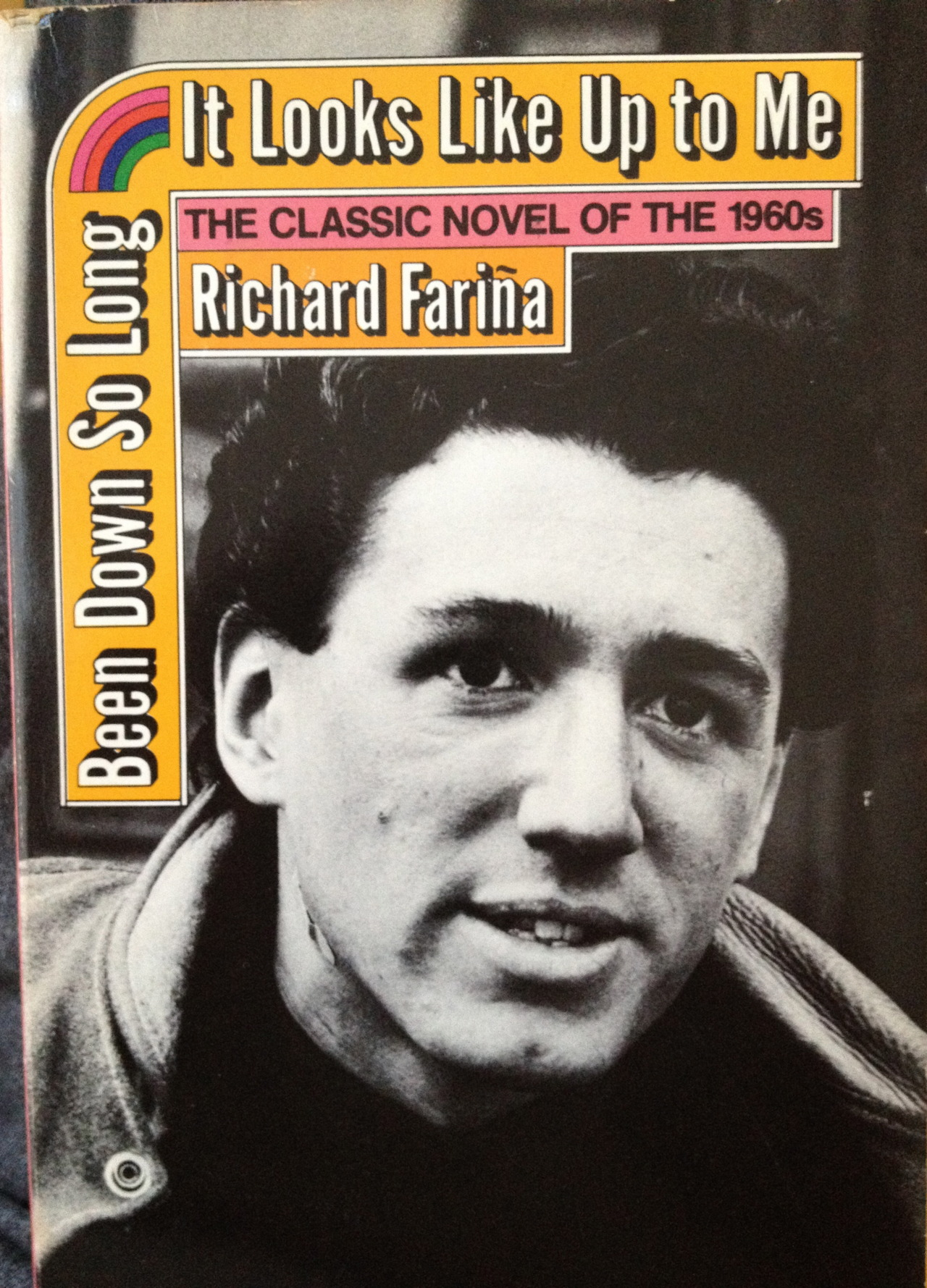 This cult novel by  Richard Fariña , classmate of Thomas Pynchon, Kirkpatrick Sale and others, includes some scenes inspired by events on the Cornell campus in the 1950s. I bought this weather-beaten copy in college when some friends became obsessed with  Fariña, who  died at 29 in a motorcycle accident shortly after its publication in 1966. The style is lyrical stream of consciousness in places: