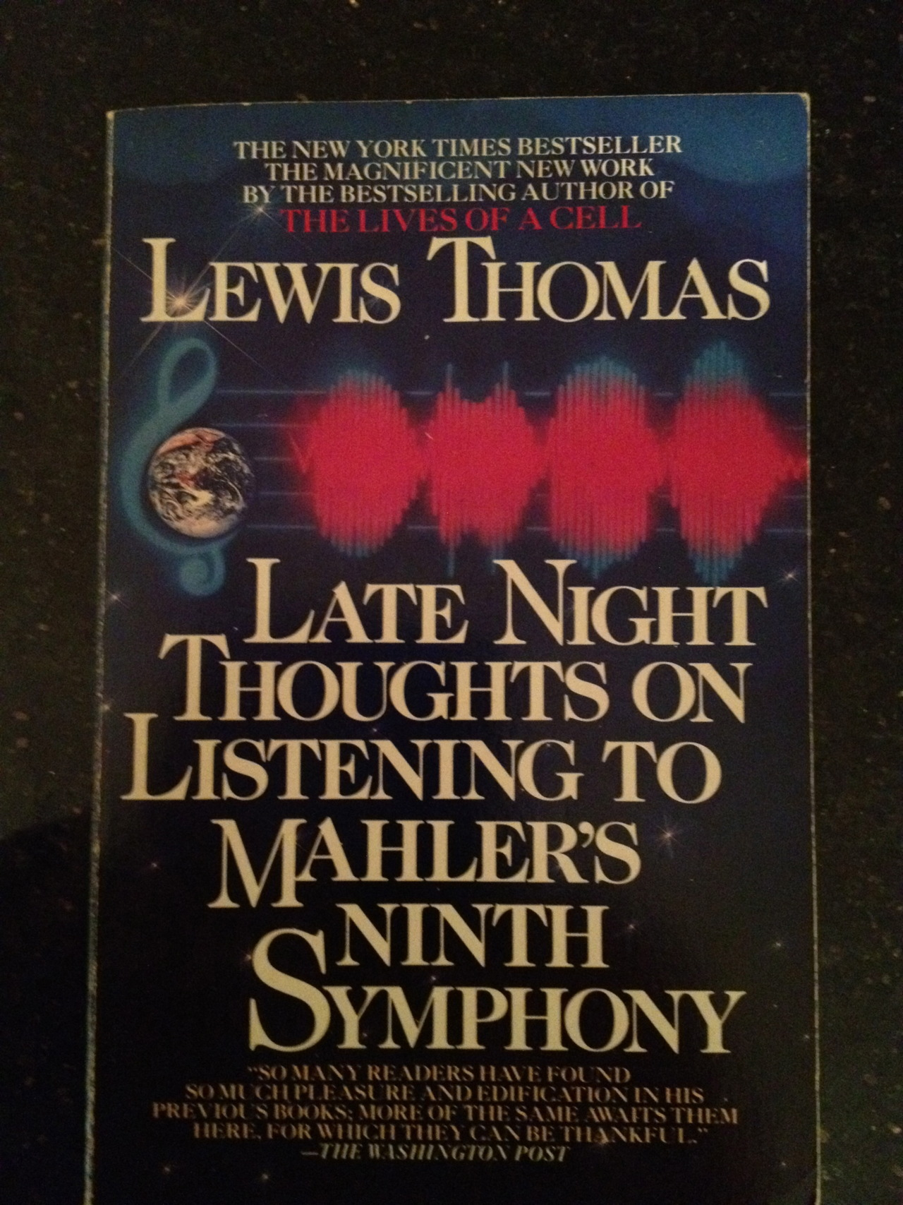 "Dr. Lewis Thomas  achieved some fame as an essayist for The New England Journal of Medicine, perhaps most famously with the collection ""Lives of a Cell."" But for whatever reason it was ""Late Night Thoughts on Listening to Mahler's Ninth Symphony"" that has survived on my shelves since I purchased it in paperback some 28 years ago. I remember being affected by  his death in 1993 , perhaps because mortality and doom was so often his topic, and I was a young man in my 20s and therefore overly obsessed with both topics. My mother had died in middle age right after I graduated from college, and I imagined my own death could not be far off. This book opens with a meditation on Hiroshima and ends with the title essay, about the threat of nuclear destruction from an exchange of missiles between America and the Soviet Union. This was a real prospect that we lived with every day, and it was a given belief among people in my generation that we would probably all die in a horrific world explosion some day. His late night thoughts on the missiles are bracing, and thankfully he has been proven wrong so far by the unexpected turns in history that would come in the years after he wrote these words in the early 1980s:     ""I am old enough by this time to be used to the notion of dying, saddened by the glimpse when it has occurred but only transiently knocked down, able to regain my feet quickly at the thought of continuity, any day. I have acquired and held in affection until very recently another sideline of an idea which serves me well at dark times: the life of the earth is the same as the life of an organism: the mind contains an infinite number of thoughts and memories: when I reach my time I may find myself still hanging around in some ort of midair, one of those small thoughts, drawn back into the memory of the earth: in that peculiar sense I will be alive. Now all that has changed. I cannot think that way anymore. Not while those things are still in place, aimed everywhere, ready for launching."""