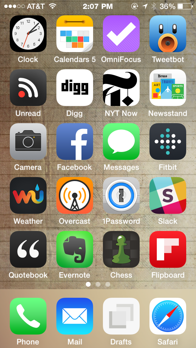My iPhone 5S home screen circa September 2014.