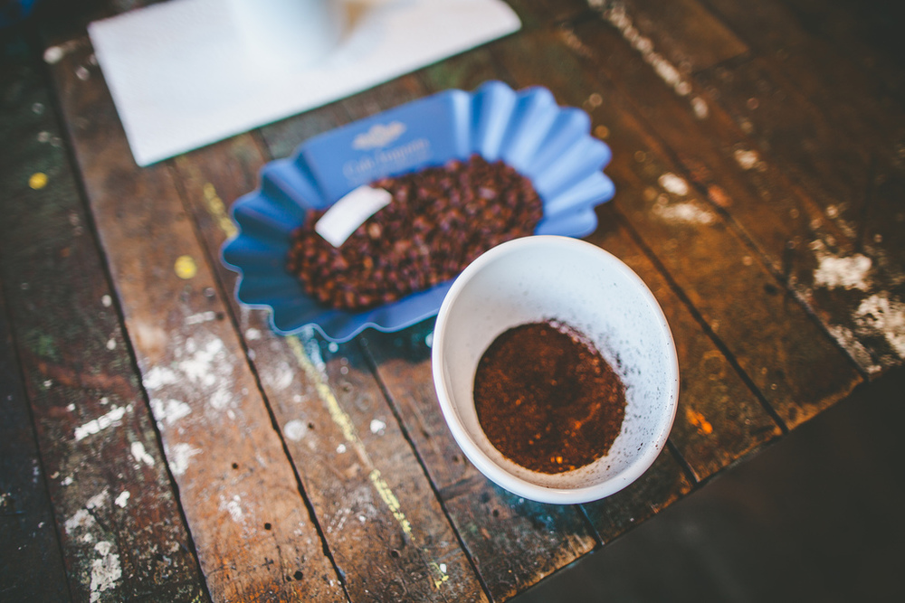 Freshly roasted and ground beans from Costa Rica are prepared with slight variances for a cupping at Gaslight Coffee Roasters.