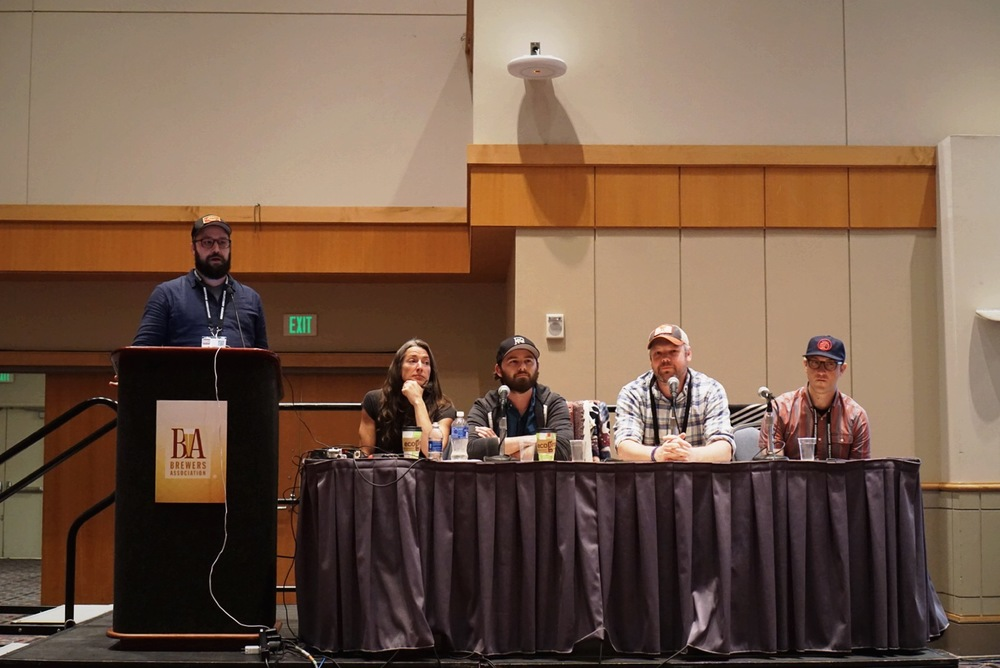Left to right: Michael Kiser, GBH; Lauren Salazar, New Belgium; Jay Goodwin, The Rare Barrel; Brandon Jones, Yazoo; Andrew Emerton, New Belgium