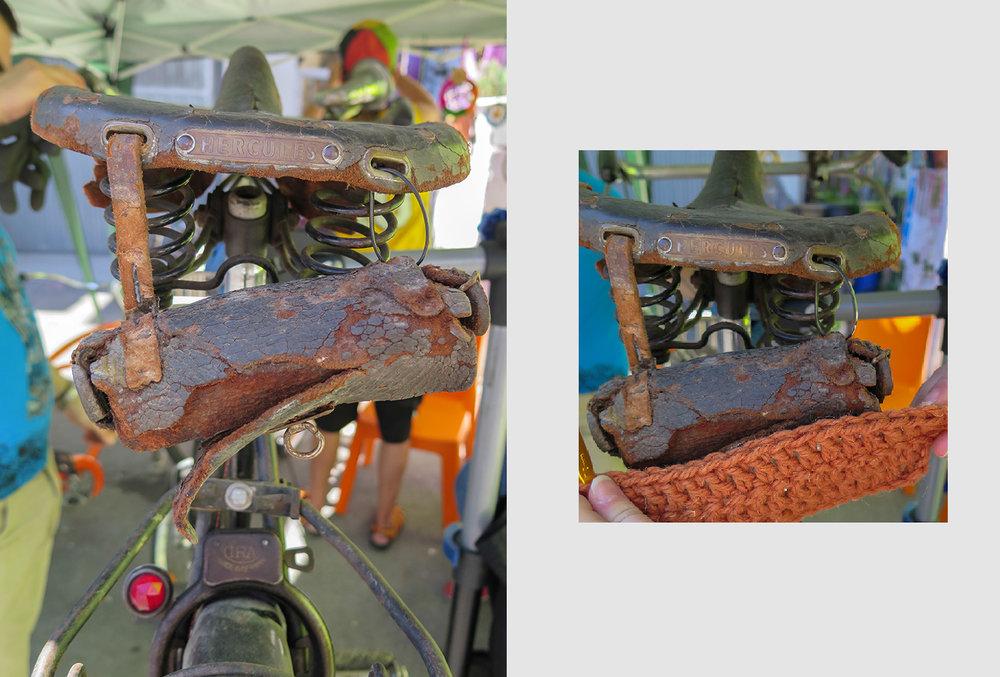 """Unos amigos acercaron su bici HERCULES para restaurar y ya tiene adjudicado un nuevo bolso para su sillín. Pero este,será al  estilo """"knitting"""" ..."""