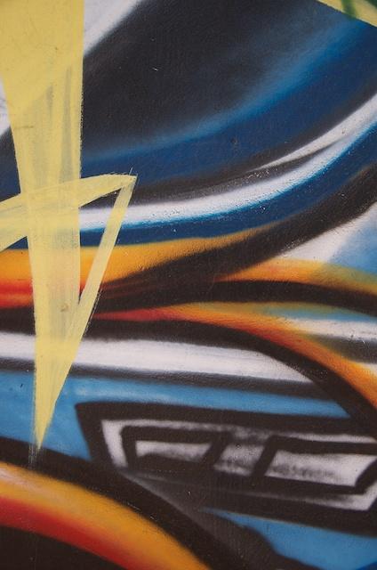 Orange and Blue, Detail of graffiti art