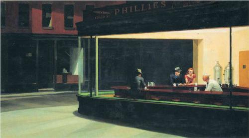 Edward Hopper (1942),  Nighthawks  [oil on canvas] [online image]. Chicago: Art Institute of Chicago. Available from: http://www.wikipaintings.org/en/edward-hopper/nighthawks (Accessed 12 November 2013)