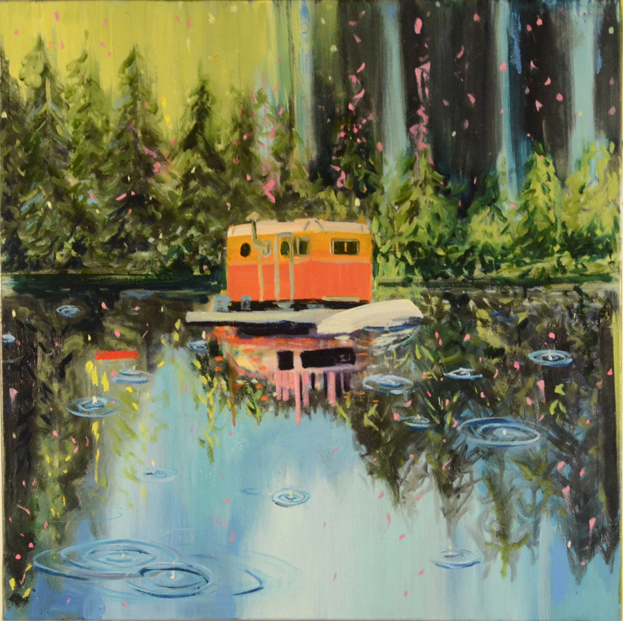 "Floating Caravan, 24 x 24"" Oil on Canvas 2015"
