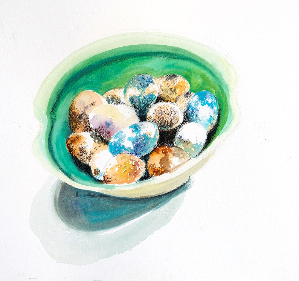 Quail eggs, watercolour, small email turquoise bowl2 copy.jpg