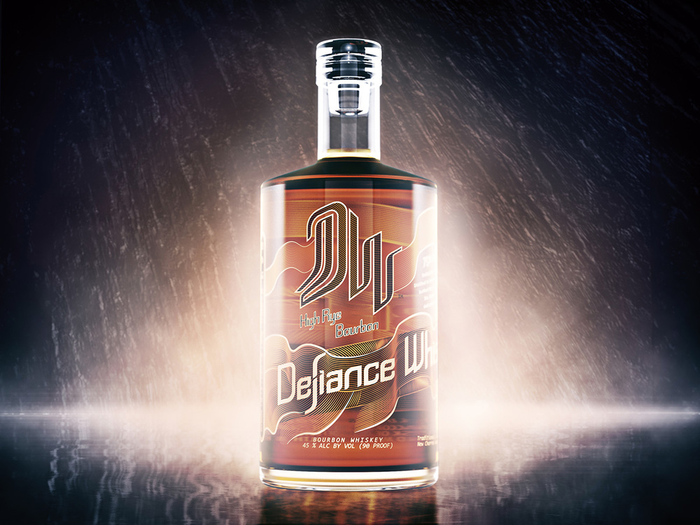 identity, branding, logo and typography for Defiance Whiskey