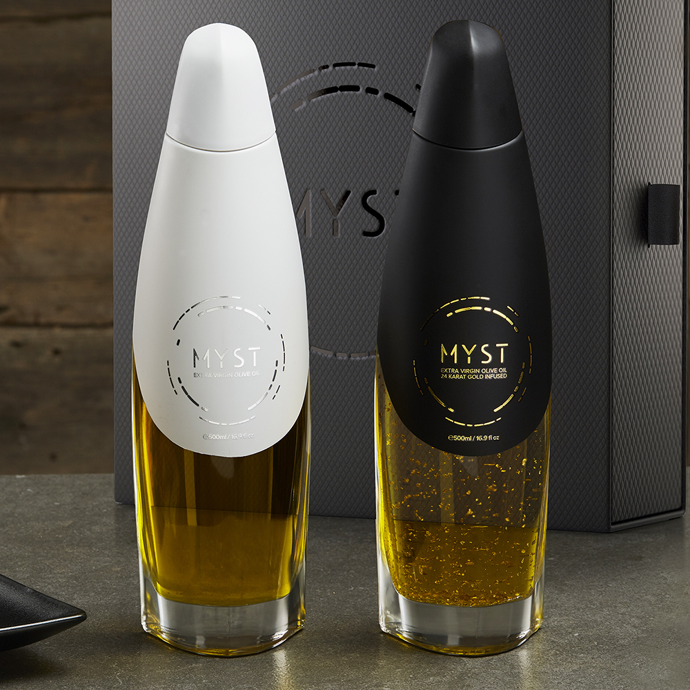 Bottle design for high quality olive oil for Myst Ultra Premium Food, manufactured in Covim, Italy.