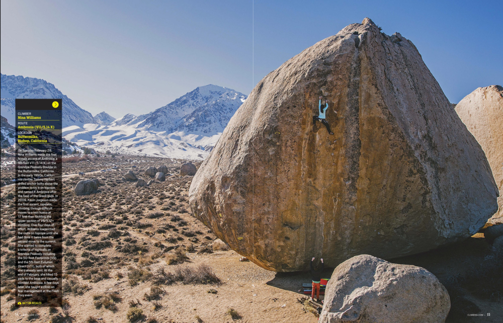 "Photo of Nina Williams on the First Female Ascent of highball, ""Ambrosia"" V11, in  Climbing Magazine  Issue 353."