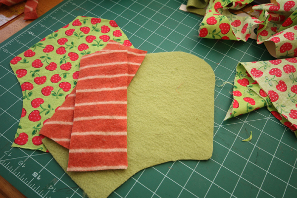 Cotton Top, Wool Core X 2 (more depending on your fabric), Fleece Backing