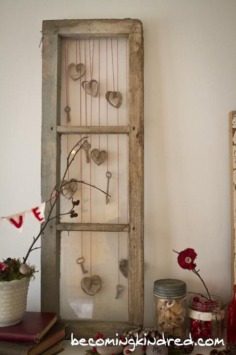 Keys & Hearts in old window