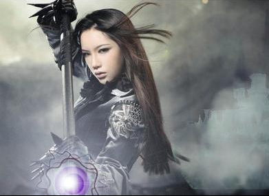 This is a famous cosplay model named Pan Shuang Shuang, Shutterstock did not, as it turns out, have the right to sell her image. But I did add a glowing purple magic effect before we knew that!