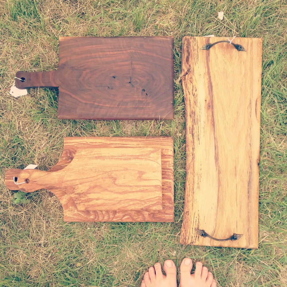 Marveling at my dad's handmade cutting boards.