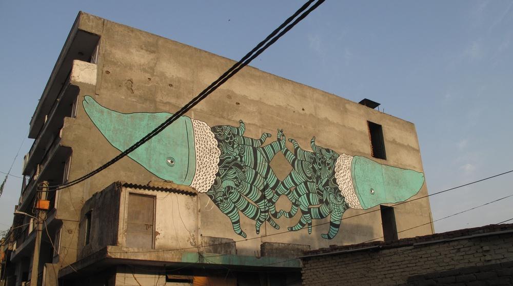 Mattia Lullini's amazing street art @ Khirkee Extension