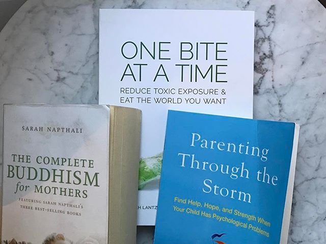 Don't you hate when your summer reading plans don't come to fruition? I'm currently scrambling to read a little bit of each of these each day and then return #thecompletebuddhismformothers to my local library and move the other two (#onebiteatatime & #parentingthroughthestorm) into my clinic lending library. Such great resources to share. Don't underestimate what your local library has to offer. Always amazes me what I find in ours. Especially recipe books 👌🏻 #gottocurbmybookspending