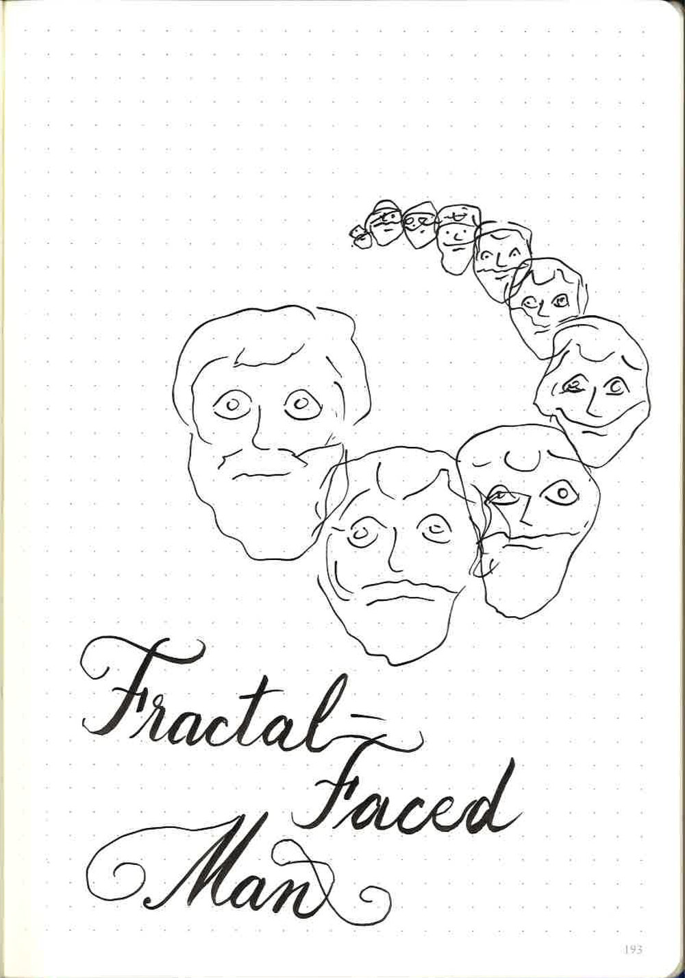 What if the whole face is fractal-ing? I'm liking this but maybe the head should rotate and overlap more. Also, some flourish-fails.