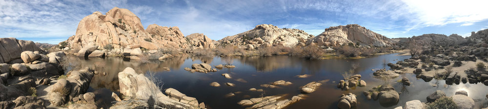 Barker Dam:    It was bone dry when I was here in August, but right now it's a breathtaking lake. If you get out early, you can beat the crowd and enjoy the stillness.
