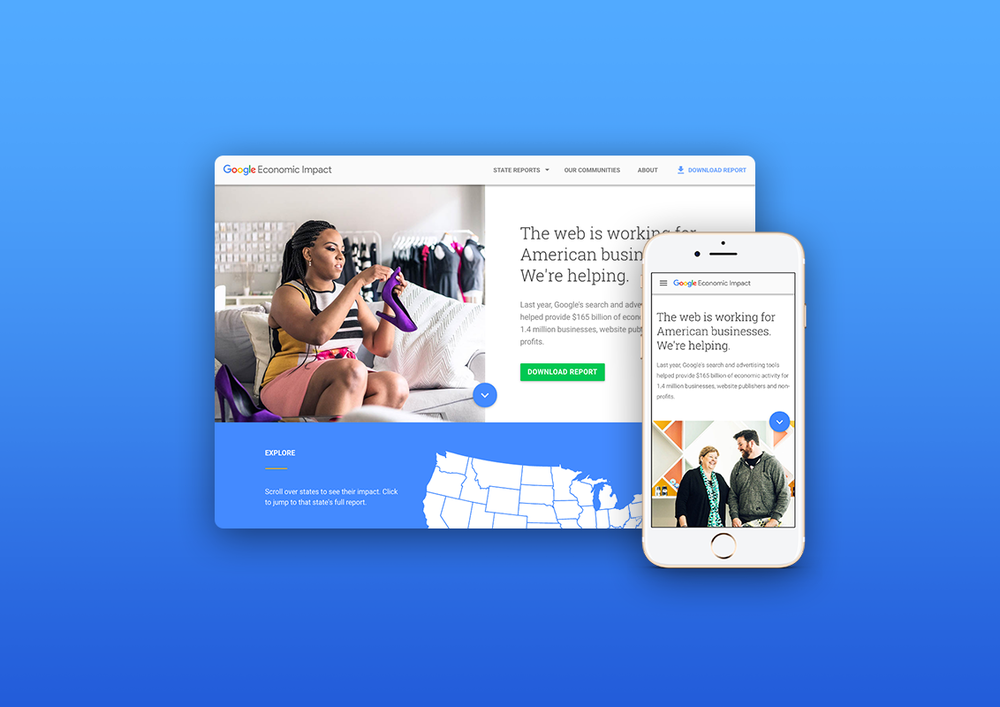 Celebrating small businesses with Google - Responsive website design and print reports for the annual Google Economic Impact Report.