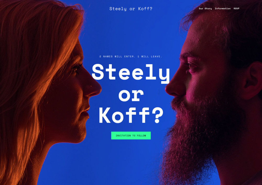Steely or Koff: Standing out in a sea of pastel - My partner and I turned a familiar event into an unforgettable competition, memorialized with a avant-garde photography and a sleek web experience.