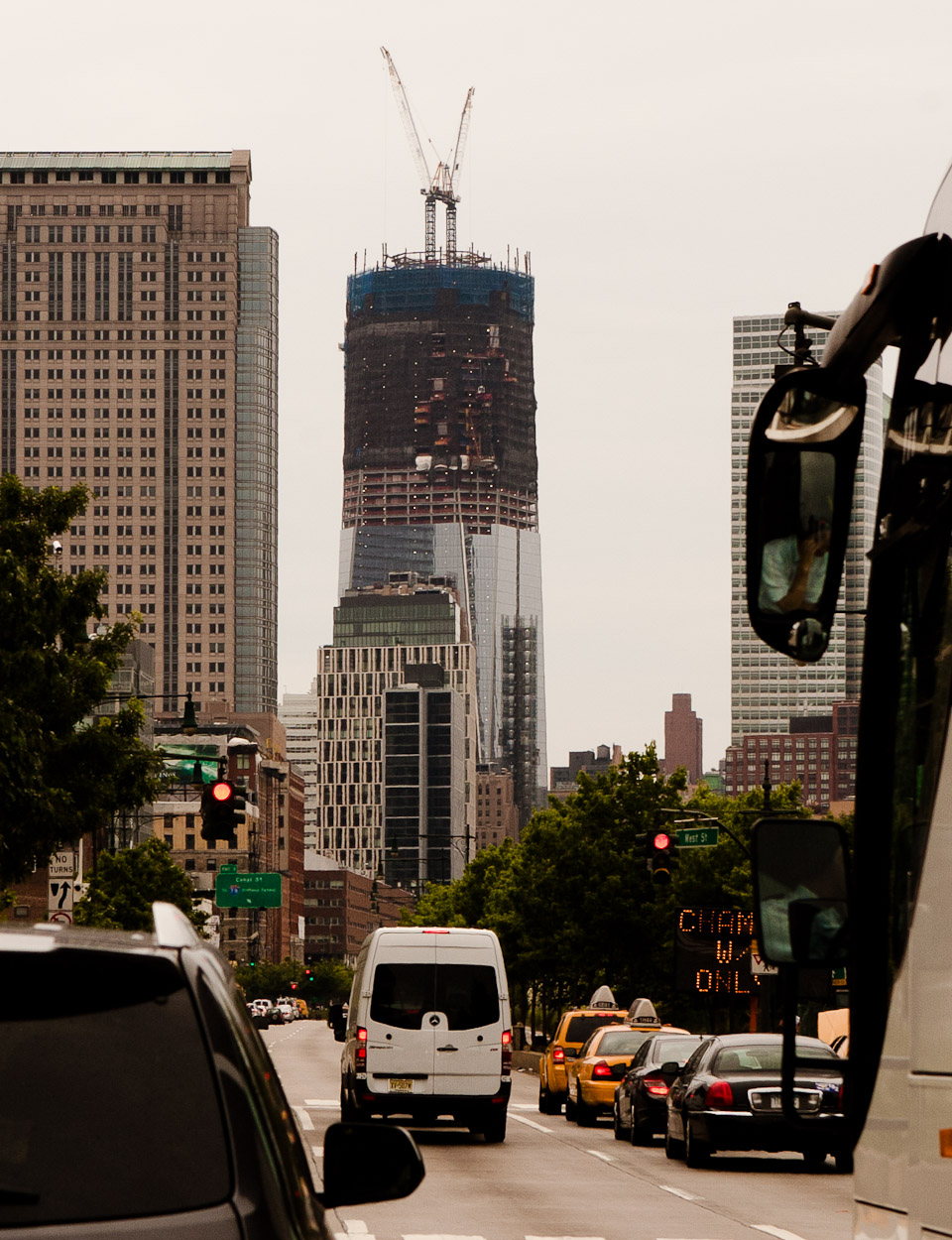 I was riding down the west side highway and saw that the new world trade center is much further along than I expected.