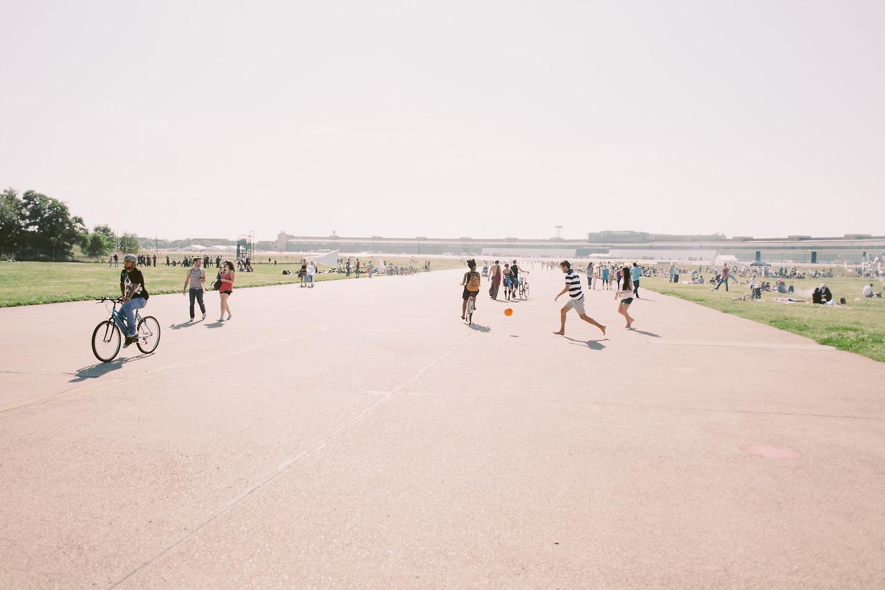Riding down a runway in Tempelhof