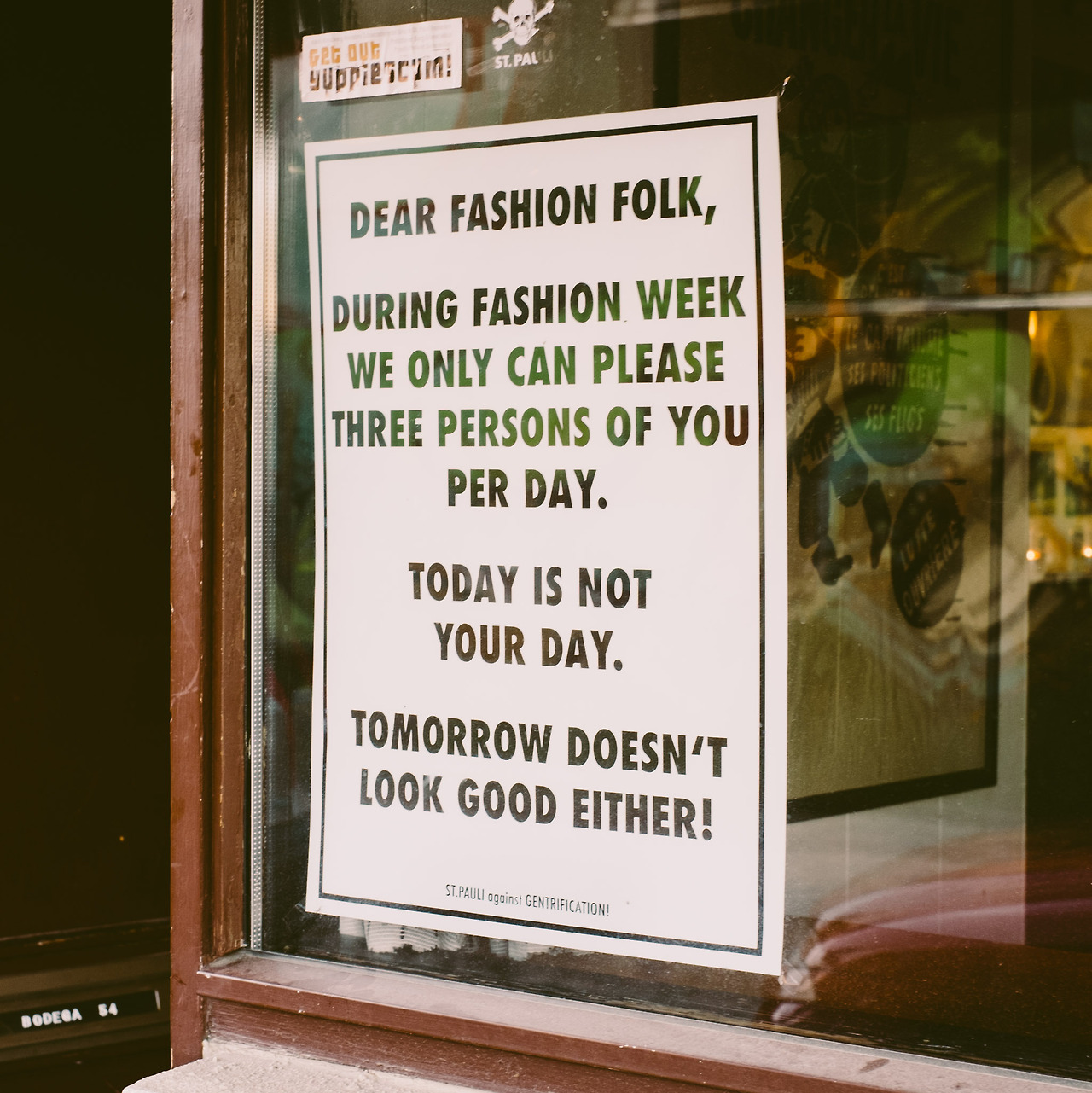 Sorry fashion folk but tomorrow doesn't look good either.