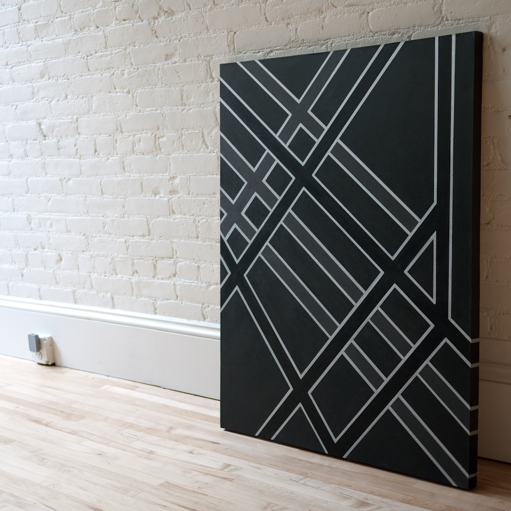 marsbot :      New York City Abstract 1      30x40 inches    Acrylic and Marker on Canvas      An abstraction of the NYC street grid in black.      Seriously Mari? This is dope. I would like to own this. please.