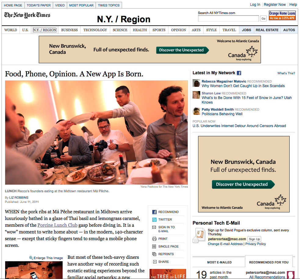 kingcortez :     Recco and our little Lunch Club made the NY Times Sunday paper. Everybody check it out and please reblog and share this article if you like it.    Thanks     http://www.nytimes.com/2011/06/12/nyregion/recco-app-offers-recommendations-for-its-users.html?_r=1&ref=nyregion