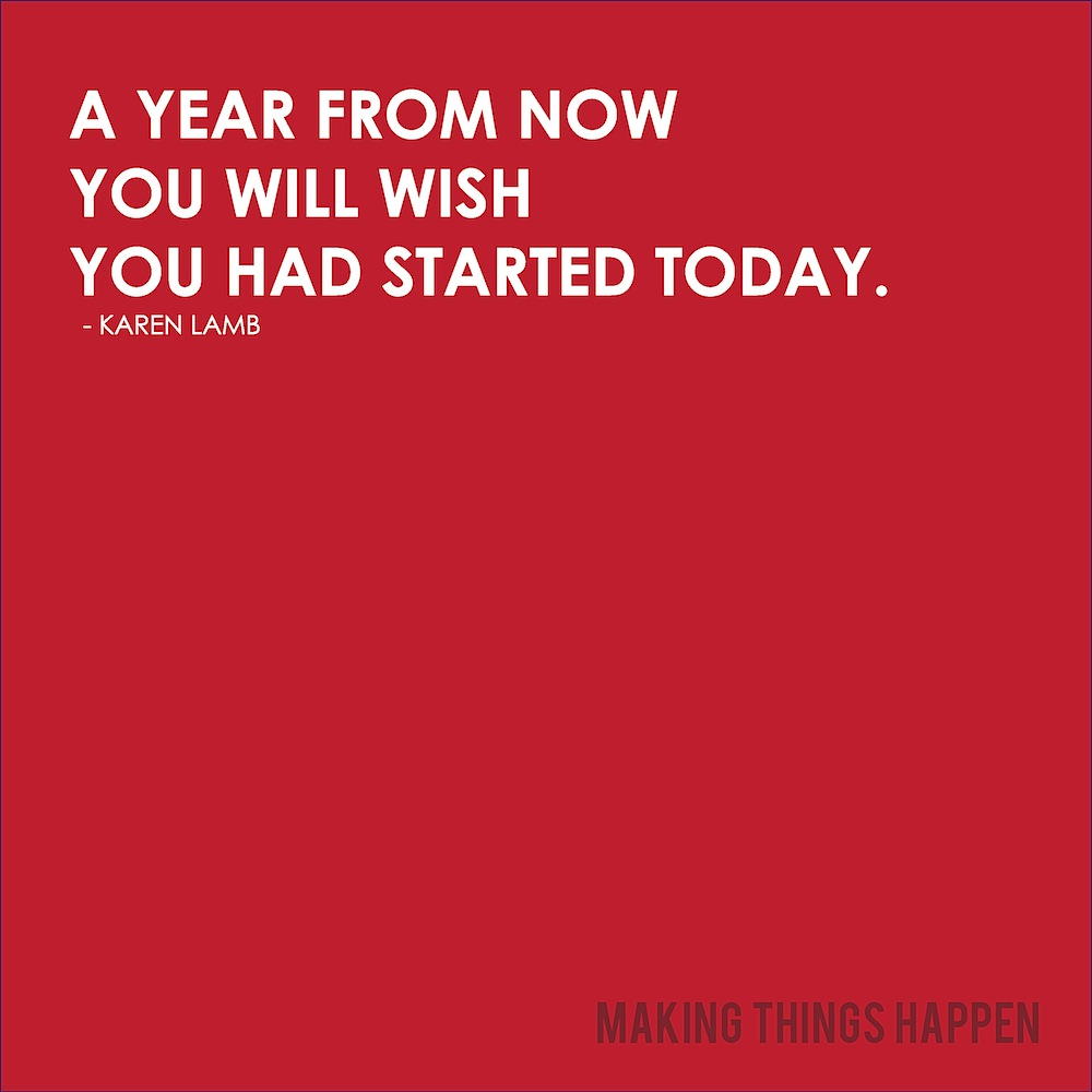 heyamberrae :     Start now.   (via  meganz )     I'm a week away from 32. Does that mean it's okay for me to start giving advice? Kind of like  steven sagmeister  i'm slowly acquiring my own list of things that i've learned so far and this is definitely one of them.     just start.  next year is going to happen *  and unless you make a major change, not much is going to be different. you probably won't have that much more money or time. you probably won't have a ton of new contacts but you will still want to do that thing you are thinking about right now. why not go ahead and start it? you'll be a year further along. even if that idea doesn't pan out you'll open up all sorts of other ideas you could have never gotten to unless you just started.    that's it.   i'll go back to trying to figure this thing out and report back when i learn something else worth spreading.