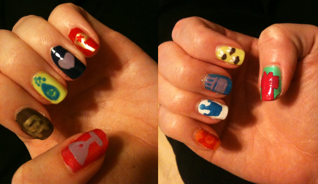 lesleykat :     @foursquare badge nails in honor of @4sqday ! come see a closer look at the NYC party tonight.     i've said it many times, les you are the coolest.