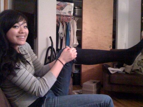 Mari and her fresh black socks