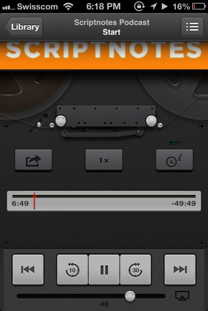 The interface of the new podcasting app on iOS.