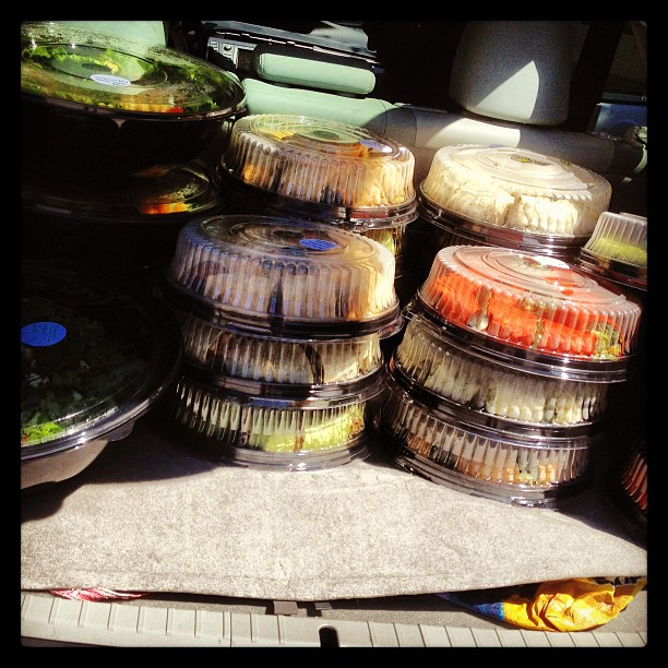 That's a lot of salad in one trunk! #cwe #ecohealthy #stlcatering