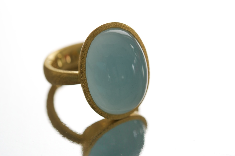22K and aquamarine ring.