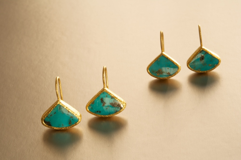 Turquoise (from the Black Diamond Mine) and 22K earrings