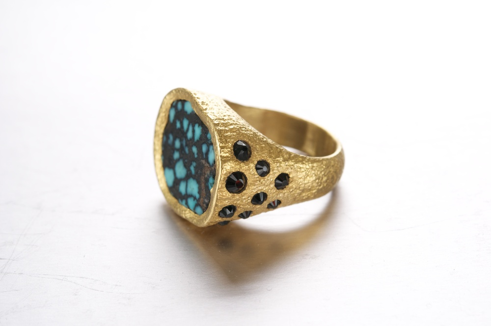 Tibetan Turquoise Ring with Black Spinels