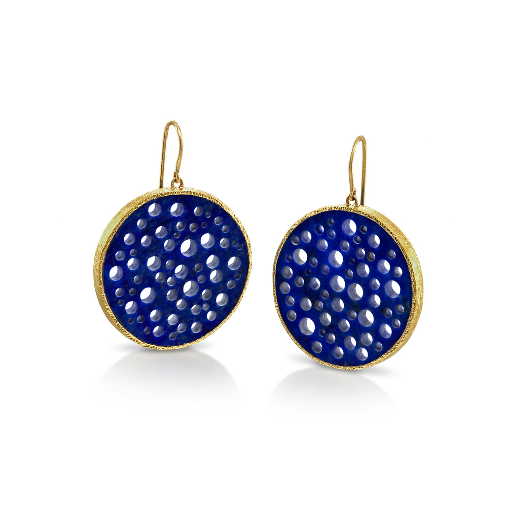 Pierced Lapis Earrings